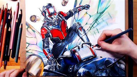 Drawing Ant-Man(Scott Lang) 앤트맨 그리기 using colored pencil - YouTube