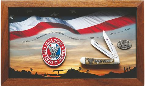 Case Boy Scouts of America Jigged Dark Red Bone Eagle Scout Commemorative Trapper with Display
